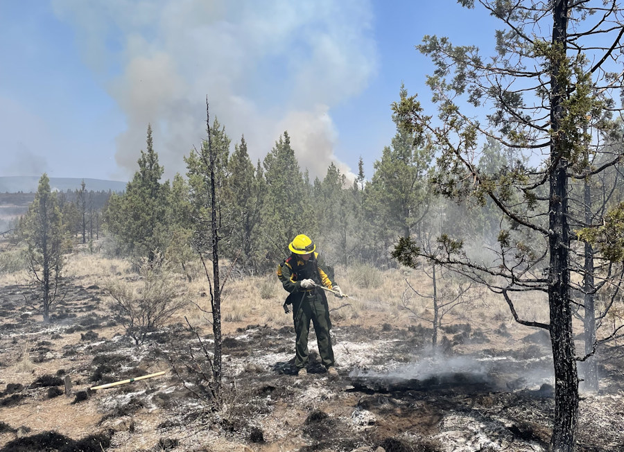 Firefighter conducting wet mop-up on the Grandview Fire NE of Sisters
