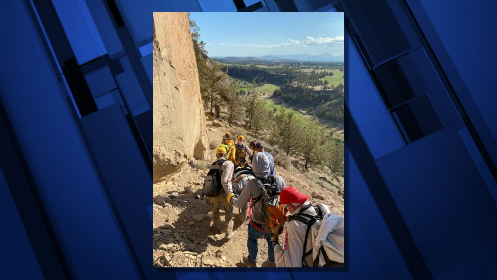 Deschutes County Sheriff's Search and Rescue, Redmond Fire used wheeled litter, raft for two injured Smith Rock hikers Tuesday