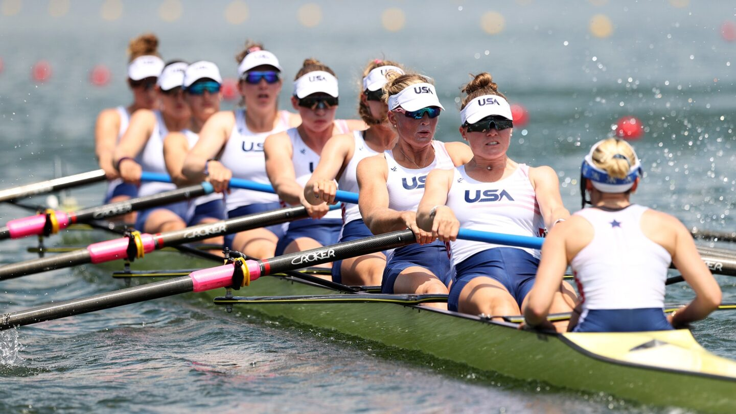 United States compete during the Women's Eight Heat 2