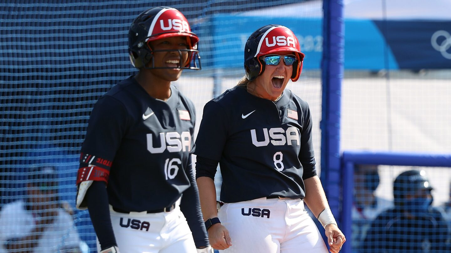 Michelle Moultrie and Haylie McCleney of Team USA react to Ali Aguilar's two-run single