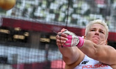 Poland's Anita Wlodarczyk competes in the women's hammer throw qualification during the Tokyo 2020 Olympic Games