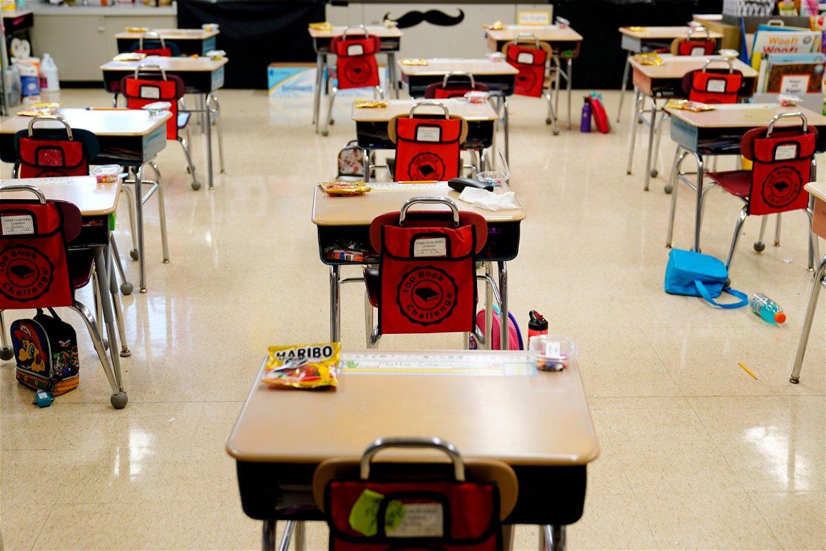 <i>Matt Slocum/AP/FILE</i><br/>Desks are arranged in an elementary school in Nesquehoning