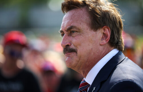 """On Thursday Mike Lindell told the Wall Street Journal that he is pulling his pillow ads from Fox. Lindell known also as """"Pillow Guy"""" is shown here attending the 'Save America' rally at the Lorain County Fair Grounds in Wellington"""