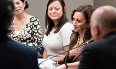Vice President Kamala Harris meets with Democrats from the Texas state legislature at the American Federation of Teachers