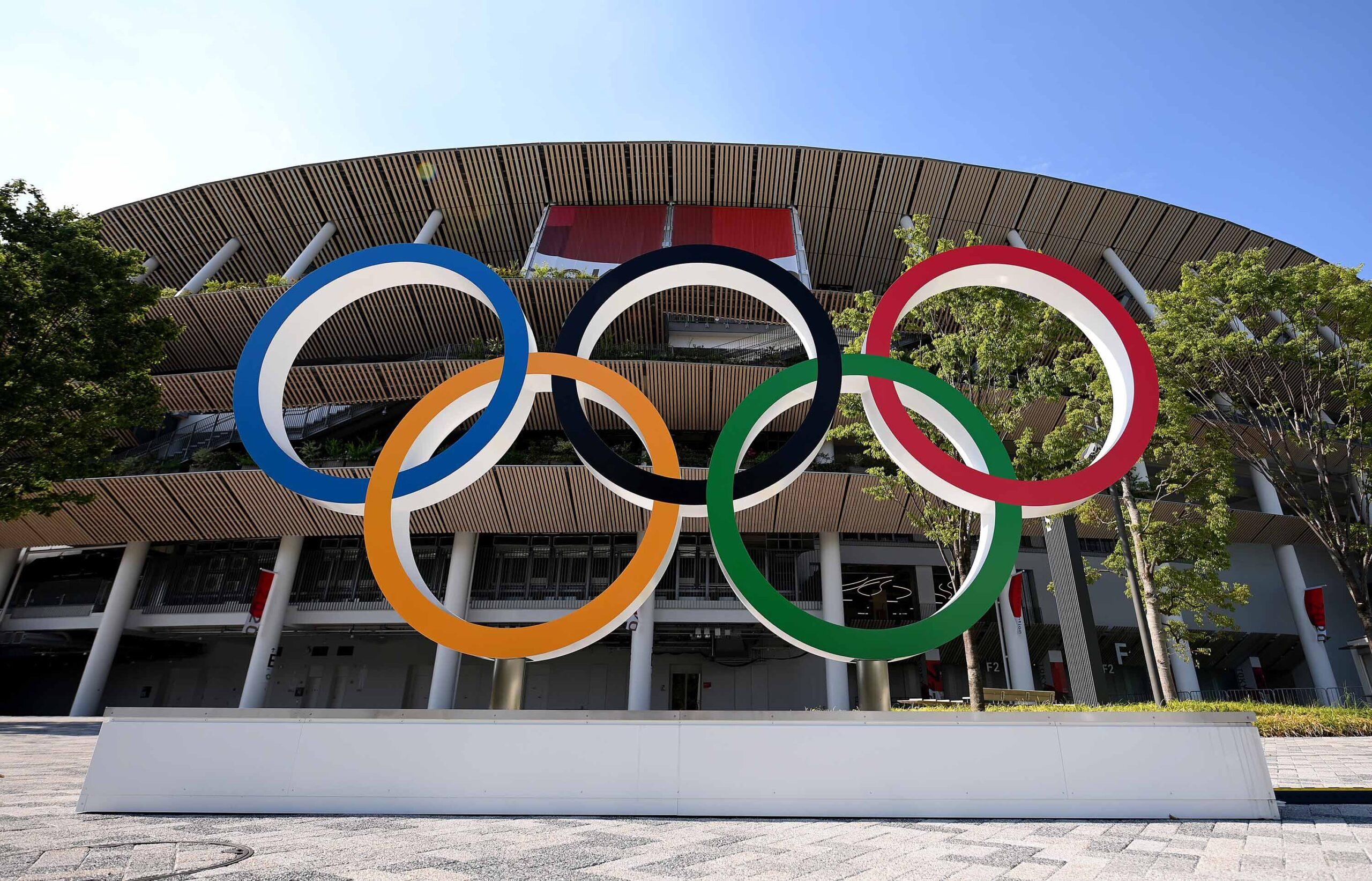 <i>Matthias Hangst/Getty Images</i><br/>The Olympic rings outside of the stadium prior to the Opening Ceremony of the Tokyo 2020 Olympic Games at Olympic Stadium on July 23