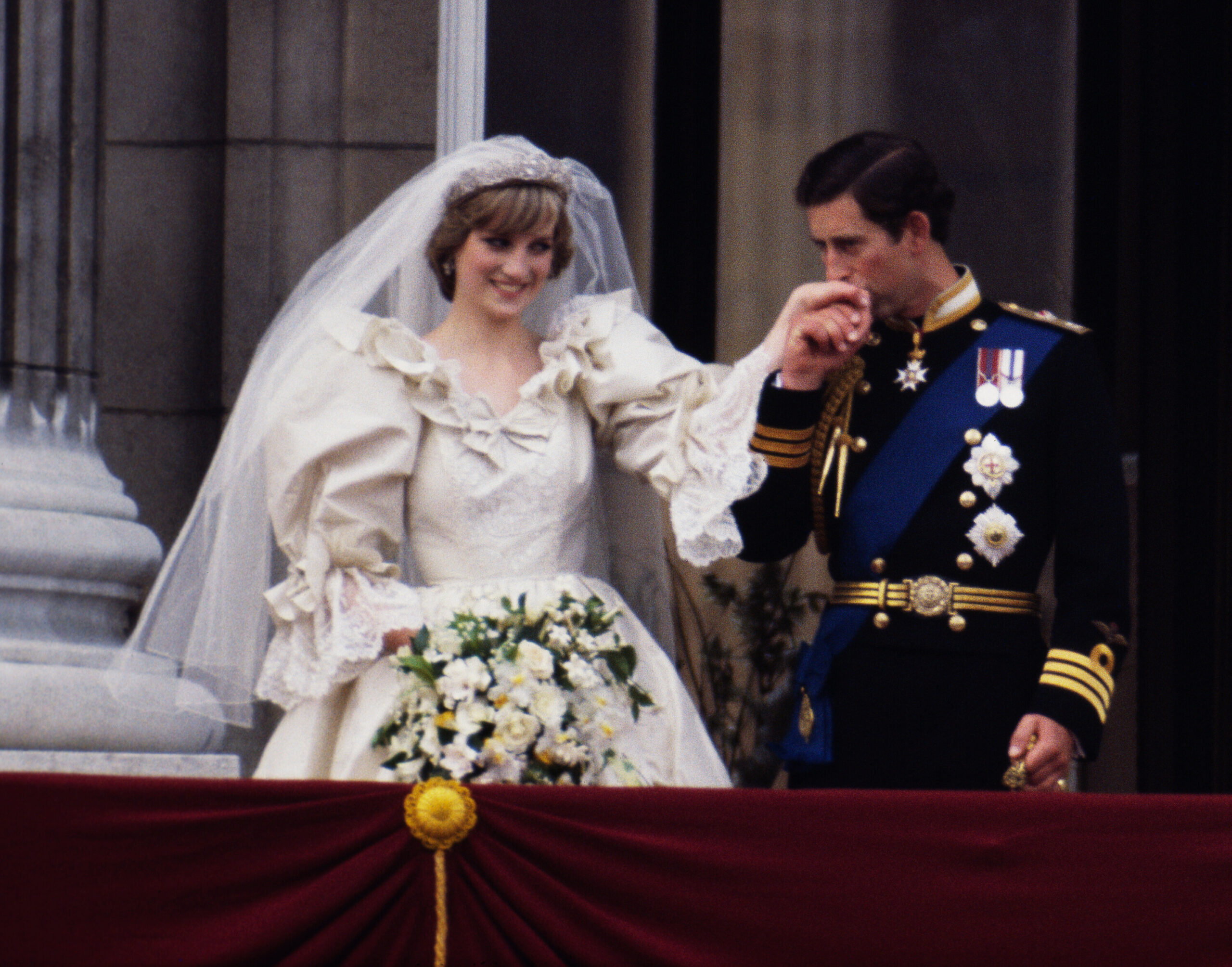 <i>Terry Fincher/Princess Diana Archive/Getty Images</i><br/>A slice of cake from Prince Charles and Princess Diana's 1981 wedding is going up for auction.