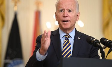 US President Joe Biden speaks about the situation in Afghanistan from the East Room of the White House on July 8.