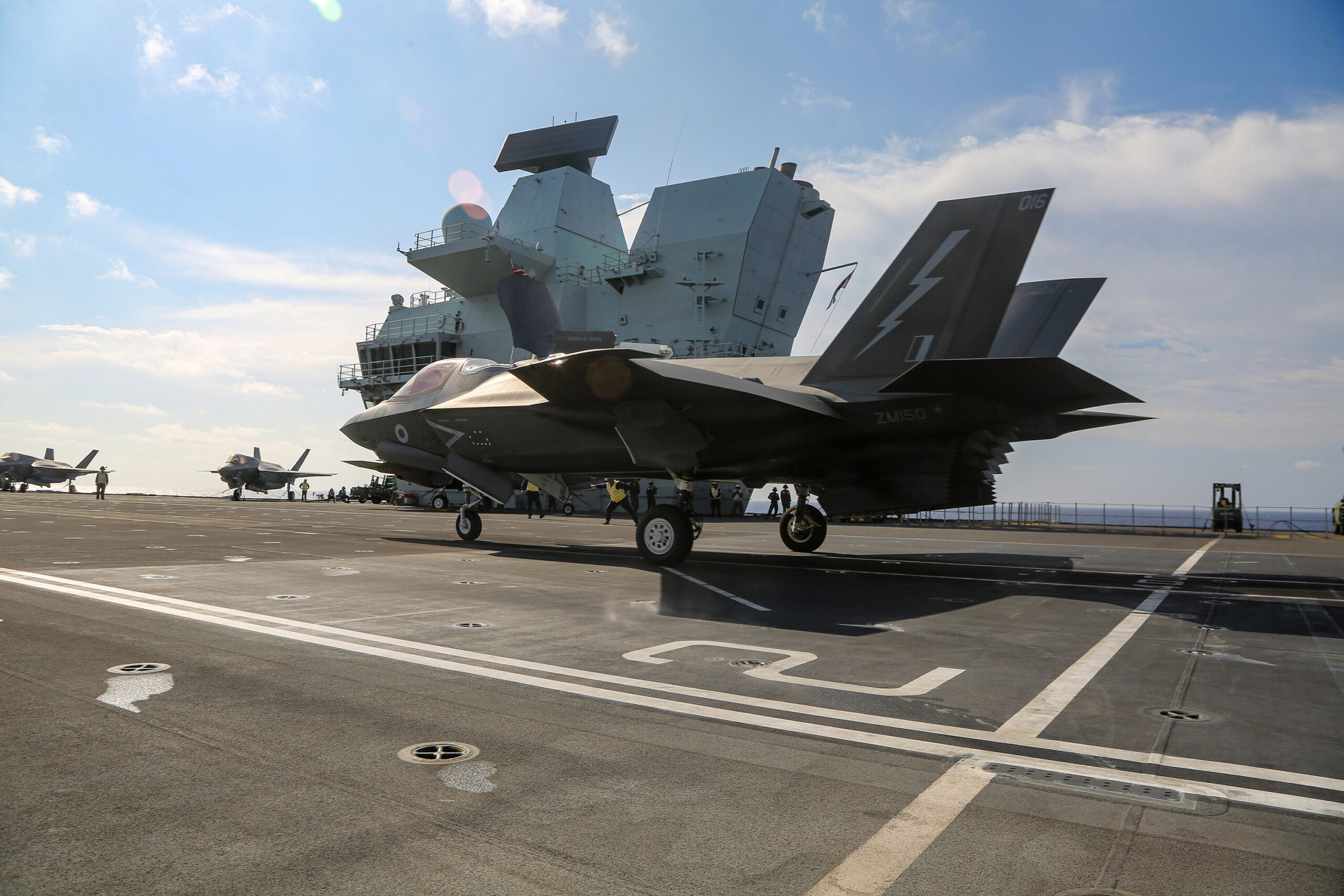 <i>1st Lt. Zachary Bodner</i><br/>US Marine Fighter Attack Squadron 211 conducts flight deck operations onboard the Royal Navy aircraft carrier HMS Queen Elizabeth in the South China Sea on July 27.