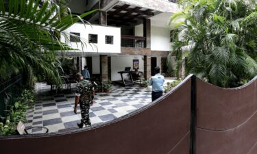 Security personnel at the residence of Sudhir Agrawal