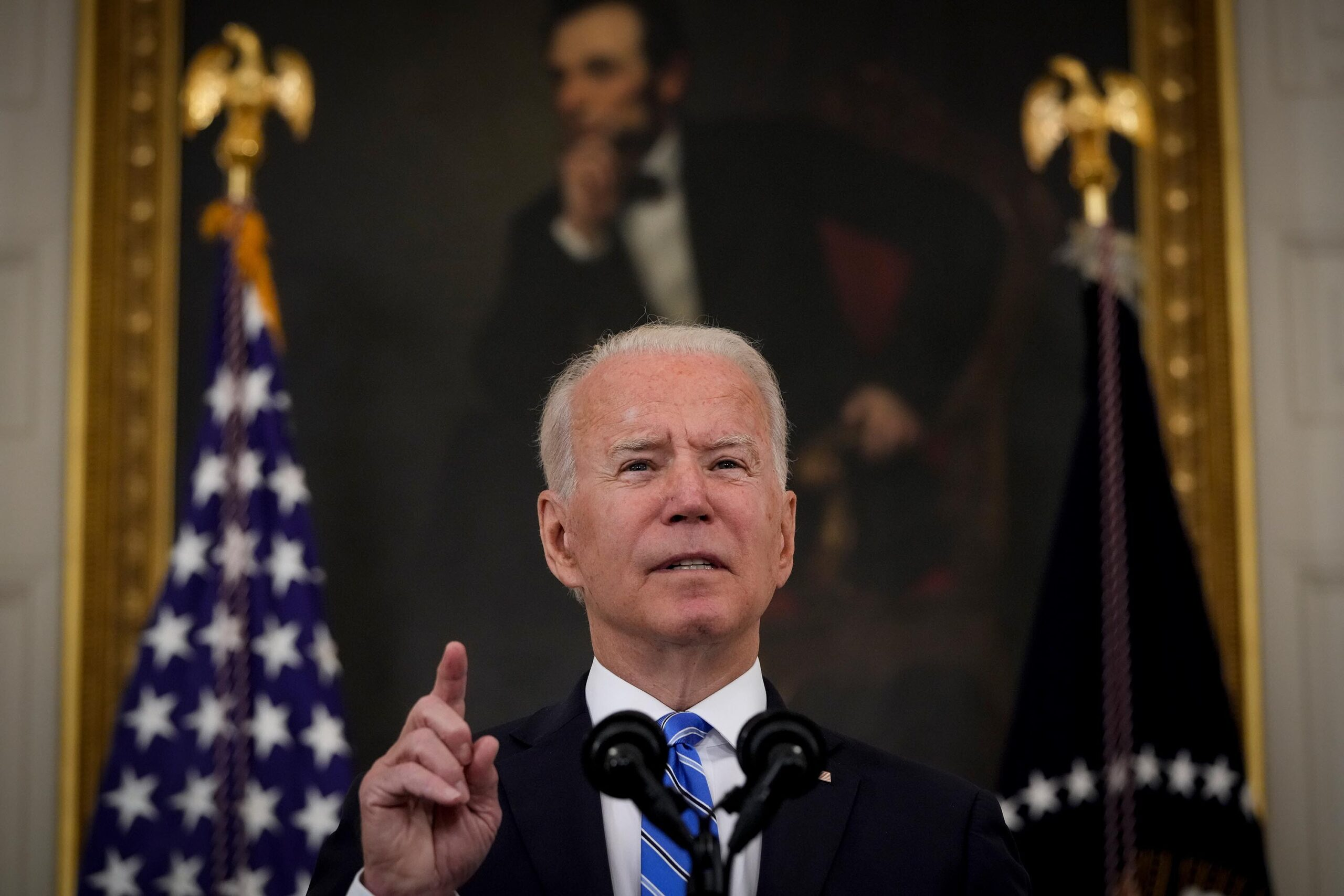 <i>Drew Angerer/Getty Images</i><br/>President Joe Biden speaks about the nation's economic recovery in the State Dining Room of the White House on July 19 in Washington