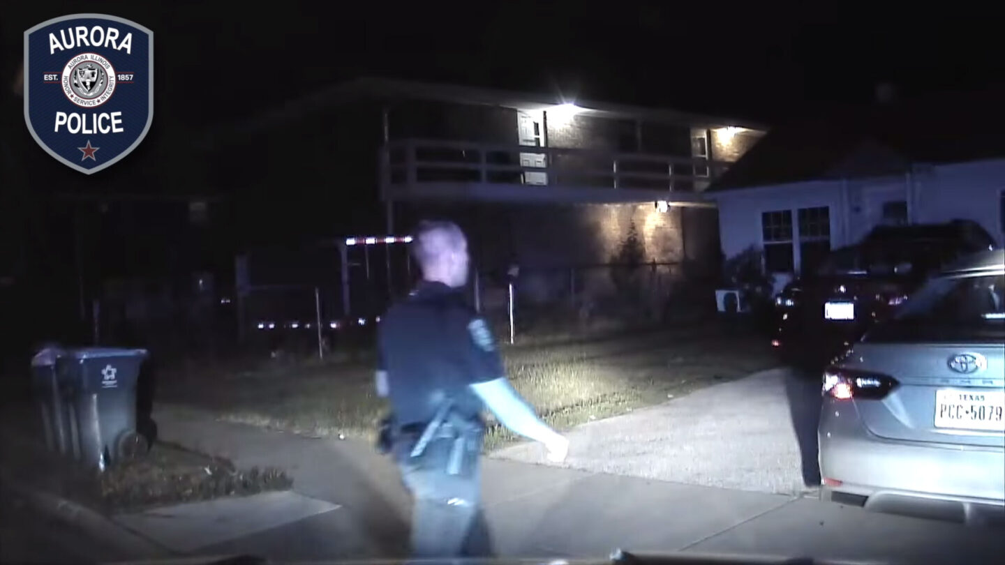 <i>Aurora Illinois Police Department</i><br/>This screen grab from a dash camera video
