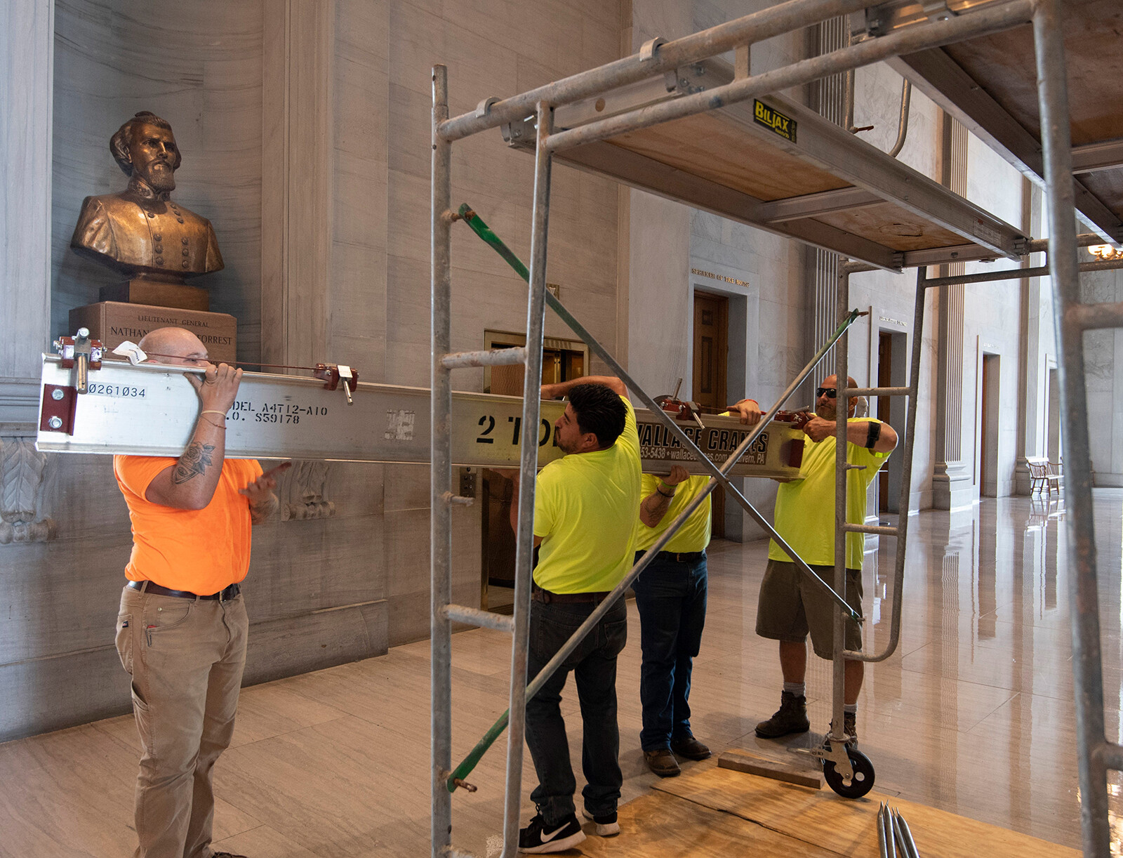<i>George Walker IV/The Tennessean/USA Today Network</i><br/>Workers prepare scaffolding at the Nathan Bedford Forrest bust in the State Capitol in Nashville