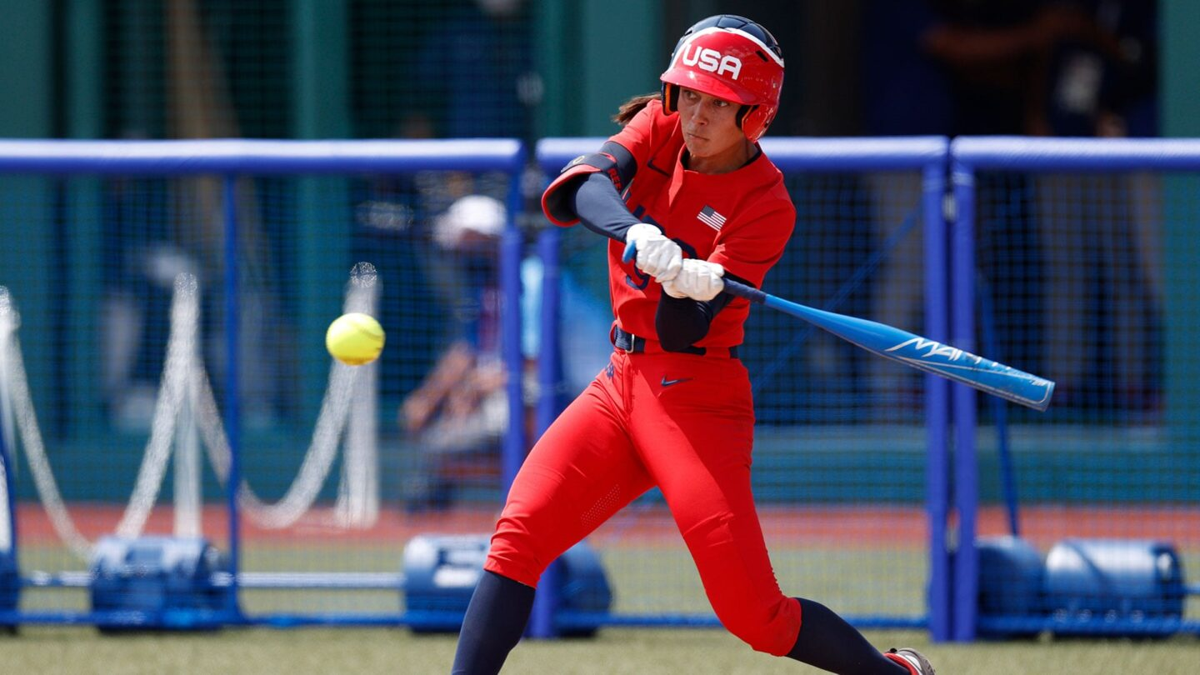 Janie Reed hits a softball