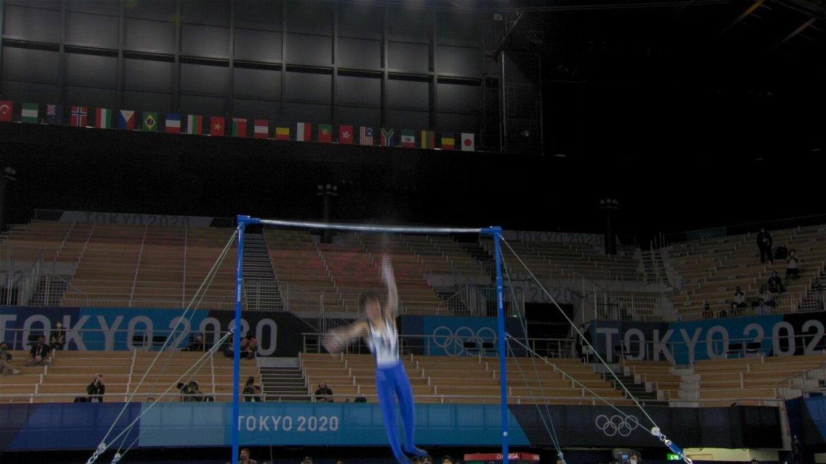 Japan's Uchimura falls off high bar in men's gymnastics