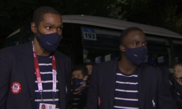 Kevin Durant and Draymond Green arrive for Opening Ceremony