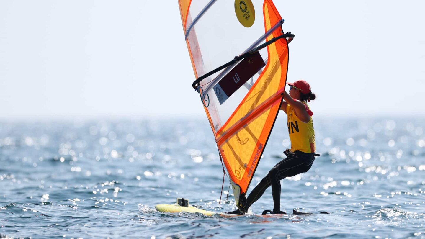China's Lu Yunxia competes in the windsurfing (RS:X) class