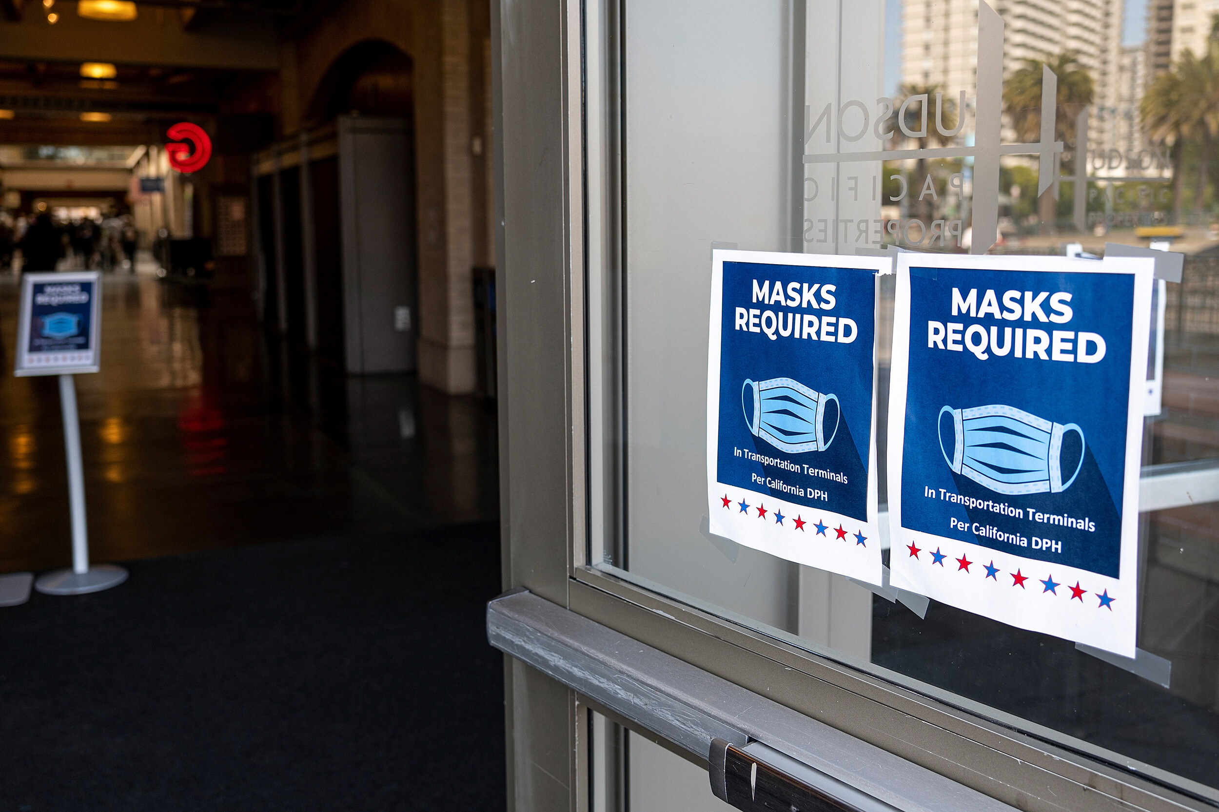 <i>avid Paul Morris/Bloomberg/Getty Images/FILE</i><br/>Signs at the Ferry Building in San Francisco last month.