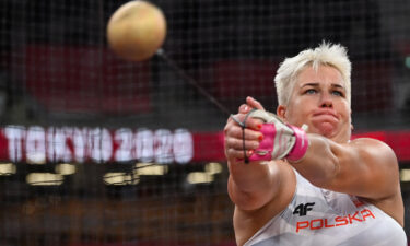 Poland's Anita Wlodarczyk competes in the women's hammer throw final during the Tokyo 2020 Olympic Games on August 3.