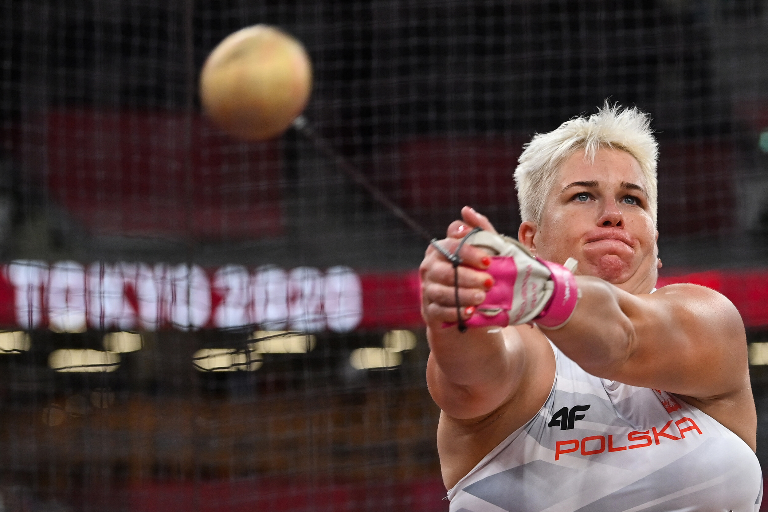<i>Andrej Isakovic/AFP/Getty Images</i><br/>Poland's Anita Wlodarczyk competes in the women's hammer throw final during the Tokyo 2020 Olympic Games on August 3.