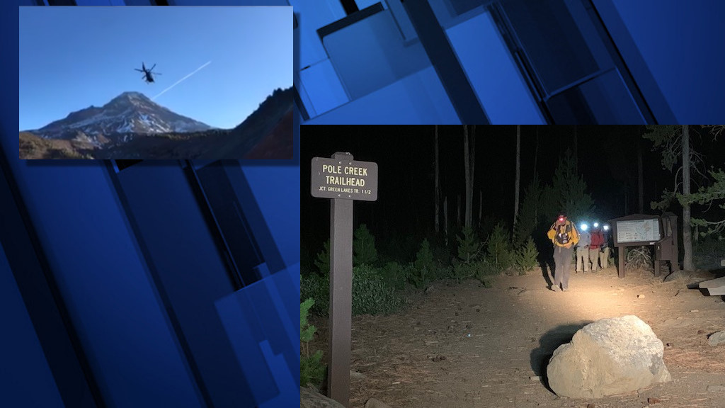 An AirLink helicopter crew flew an injured Middle Sisters hiker to the hospital on Sunday; it took DCSO Search and Rescue crew until after dark to return to Pole Creek Trailhead