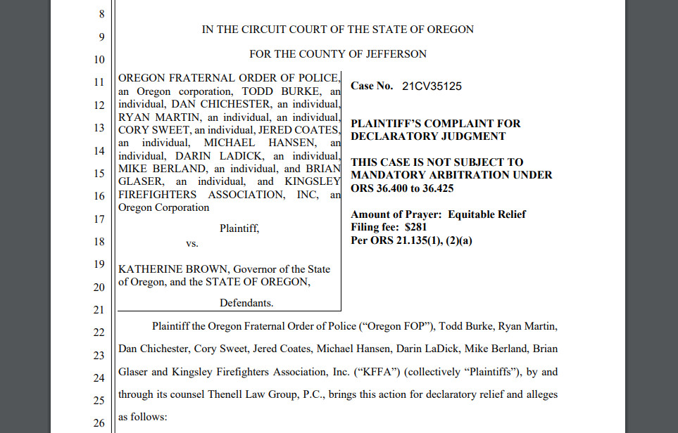 Lawsuit filed by OSP troopers, state firefighters over Gov. Brown's vaccine mandate