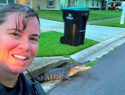 A Palm Bay police officer took a selfie with an alligator emerging from a storm drain.