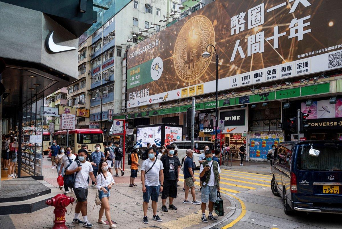 <i>Budrul Chukrut/SOPA Images/Shutterstock</i><br/>A Bitcoin banner advertisement is seen in Hong Kong