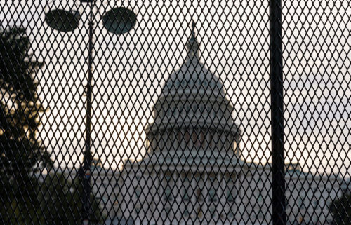Security fencing has been reinstalled around the Capitol in Washington