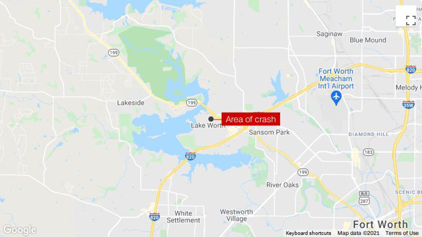 <i>Google</i><br/>Two pilots were hospitalized September 19 after each ejected from a military training jet that crashed in a residential neighborhood in Lake Worth