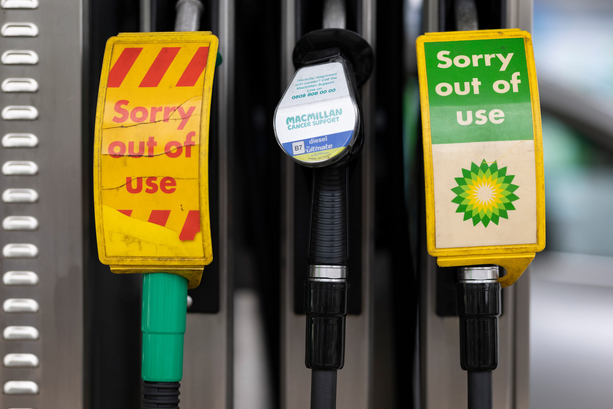 <i>Dan Kitwood/Getty Images</i><br/>Pumps out of action at a BP petrol station on September 23 in London.