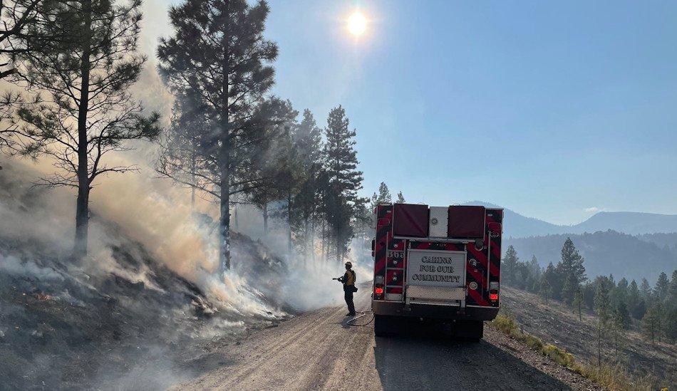 Firefighter on Cougar Peak Fire