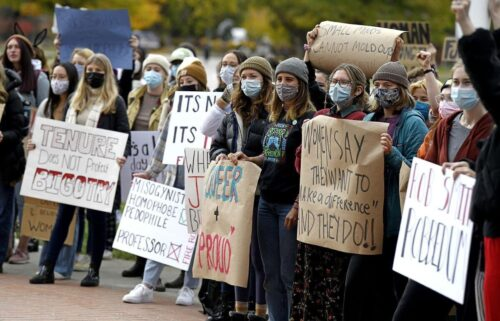About 150 students rallied in front of Main Hall on Oct. 15 and called for the University of Montana to fire computer science professor Rob Smith — or for him to resign.