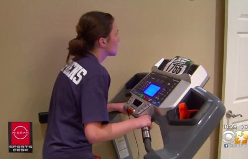 """Every step Emma Stephens would take brought her one step closer to her goal. The Forney ISD 8th grader says """"I had been on the treadmill for around a year of so….walking for 30 minutes""""."""