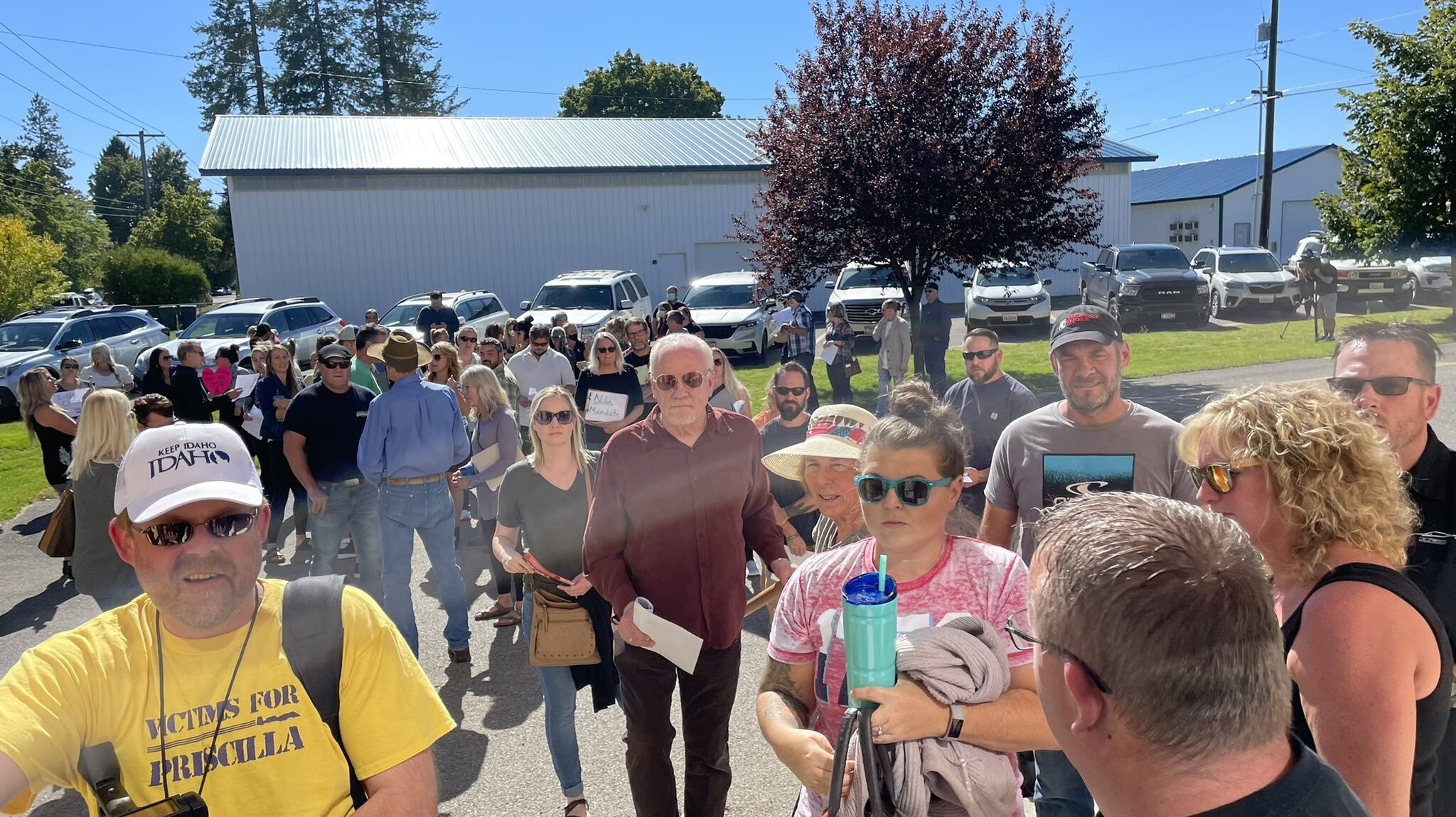 <i>Elenee Dao//KXLY</i><br/>The Coeur D'Alene Public Schools school board meeting discussing a temporary mask mandate was canceled due to security concerns related to the size of a crowd of protesters on September 24.