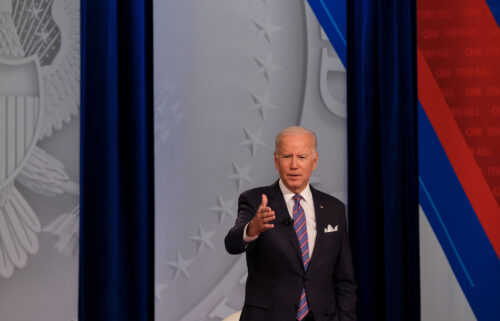 US President Joe Biden with CNN anchor and host Anderson Cooper at CNN's Presidential Town Hall with Joe Biden in Baltimore