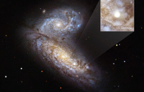 Astronomers watched a star explode in a supernova inside the interacting Butterfly Galaxies