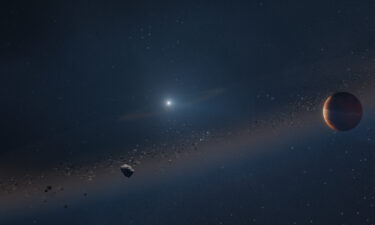 An artist's rendition of a newly discovered Jupiter-like exoplanet orbiting a white dwarf