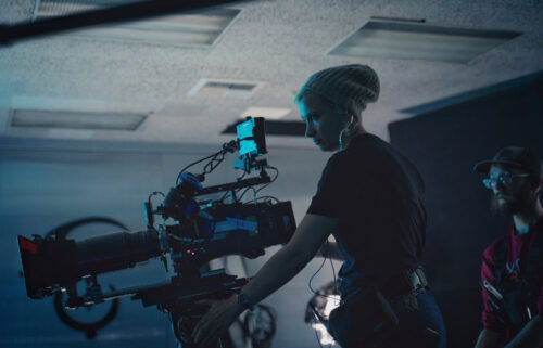 """This photo provided by Jack Caswell shows director of photography Halyna Hutchins on the set of """"Archenemy"""" on Dec. 17"""