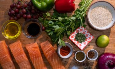 Mediterranean-inspired grocery staples include heart-healthy fish like salmon