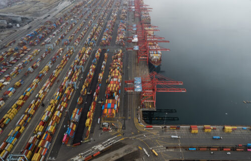 Aerial view of containers and ships at the Port of Los Angeles on October 23