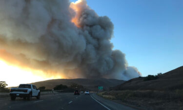 Smoke fills the sky as the Alisal fire burns in the distance on Monday