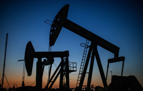 US oil jumped another 1.2% to trade as high as $85.07 a barrel. Oil pumpjacks are shown here operating at dusk Willow Springs Park in Long Beach