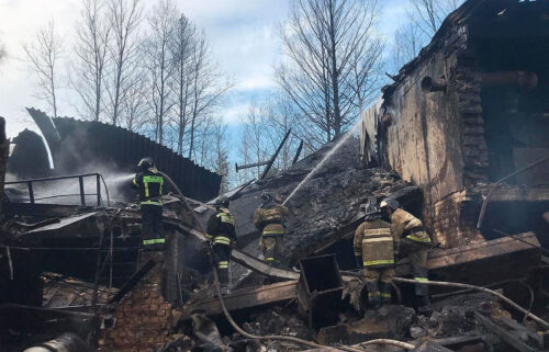 Russian officials released this photo of emergency personnel working at the site of an explosion and fire at a gunpowder factory in the Ryazan region