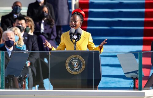 Youth Poet Laureate Amanda Gorman speaks at the inauguration of U.S. President Joe Biden on the West Front of the U.S. Capitol on January 20.