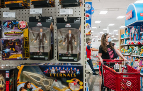 Supply chain issues and sky-high inflation have done little to knock consumer confidence as people plan to spend big on big-ticket purchases and that's a strong signal that consumer spending will continue through the holiday season. Customers are seen shopping for toys on October 25 in Houston