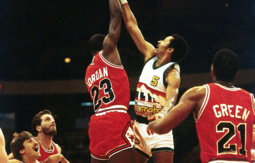 Michael Jordan playing for the Chicago Bulls during the 1984 NBA game in Denver